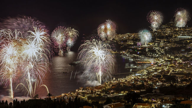 """Arts Culture And Entertainment Blurred Motion Celebration Exploding Exposure Firework Firework Display Fountain Funchal Glowing Illuminated Lens Flare Light Long Exposure Madeiraisland Motion Night Palm Tree Power In Nature Religion Speed """"New Year Around The World"""" Cities At Night"""