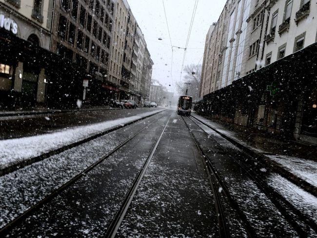 Europa City Dutch Angle Railroad Track Snow Street The Way Forward Tramway Winter