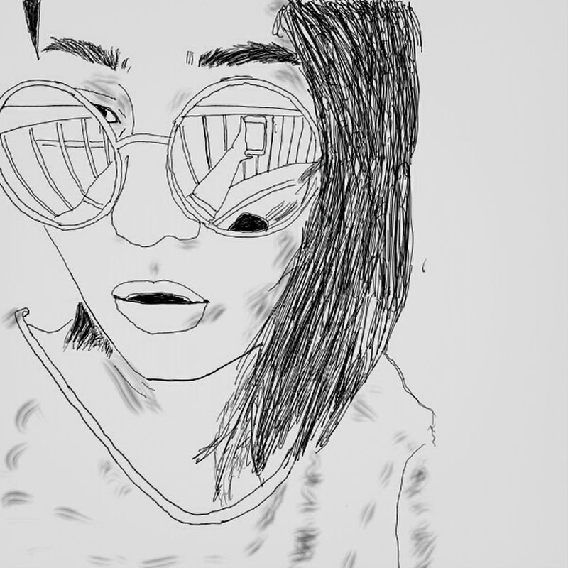 I found the world in her glasses. .. Drawing Scketchbook Portrait