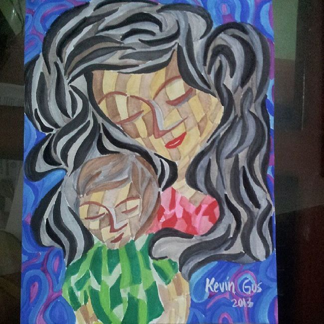 Just finished another Mother and child artpiece.. Pinoystyle Pinoy Pinoyartistry Pinoyartist pinoyart filipino filipinoartist art artwork painting kevoartist cubism watercolor watercoloronpaper motherandchild madonnaandchild