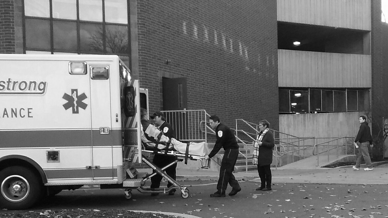 B&w Street Photography No Filter Emergency Ambulance Patient Worried Daughter Compassion Stretcher Gurney EMTs