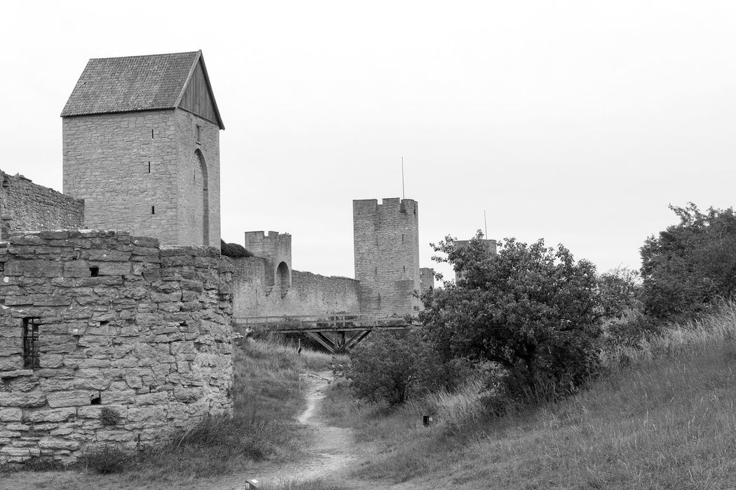 Architecture Black And White Brick Wall Building Exterior Built Structure Castle City Clear Sky Copy Space Exterior Fort Fortified Wall Fortress Gotland, Sweden History No People Office Building Outdoors Sky Skyscraper The Past Tower Weathered World Heritage