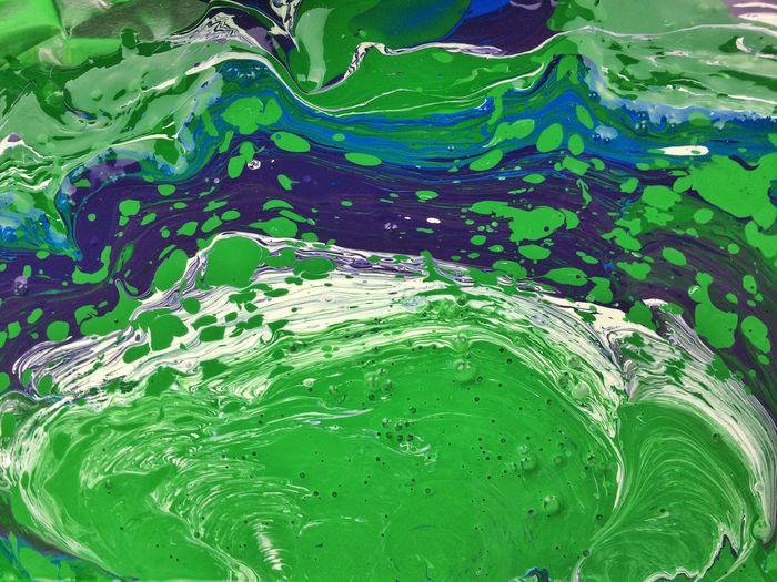 All in a day's work... Painting Paint Marbling Pattern Fluid Liquid Swirl Splatter Paint Splatter Green Purple Blue Cool Colors Swamp Psychedelic Trippy Tie Dye
