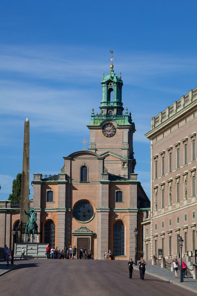 Stockholm, Sweden - Aug 24, 2016 : View of the Stockholm Palace slope. Obelisk, Great Church and Royal Palace from the left. Architecture Church City Day Europe Famous Place Monument Nordic Countries Obelisk Old Town Palace Scandinavia Slope Stockholm Stockholm, Sweden Sweden Tourism Travel Destinations