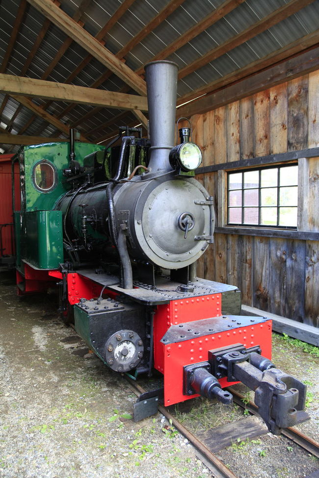 Old steam locomotive in shed Boothbay Green Color History Locomotive Maine Obsolete Shed Steam Engine Transportation