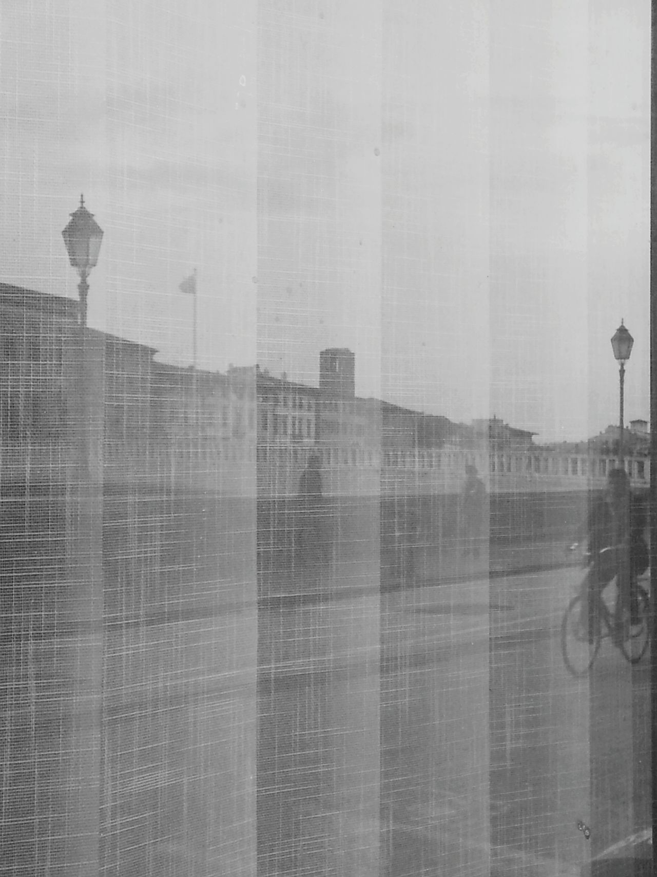 Between two streetlights... Reflection Window Outdoors Along The Riverside Bike Two People Architecture Building Exterior Multi-layered Effect Built Structure Day No People Skyscraper Double Exposure Street Light Pisa Old Buildings Riverside Arno  Arno River Streetlights