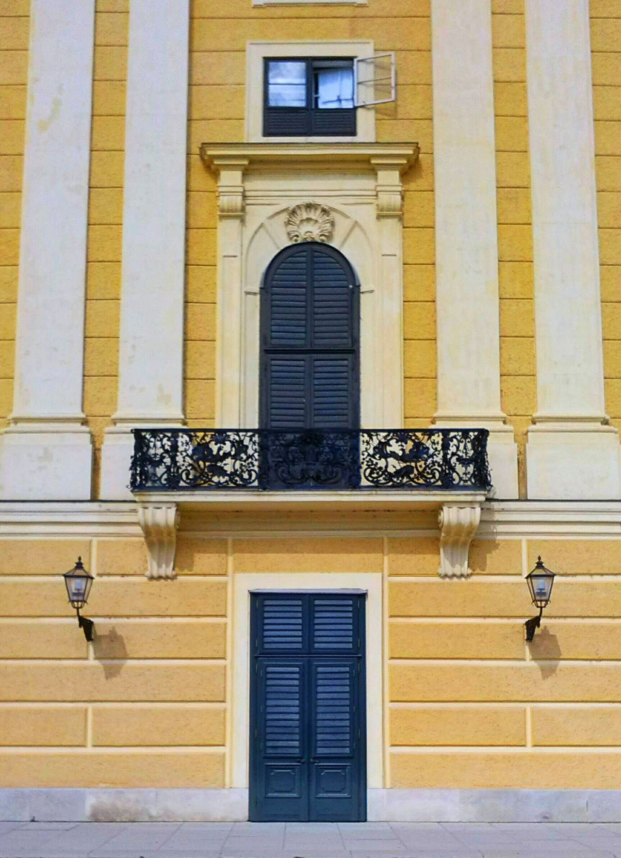 Built Structure Building Exterior Architecture Window Arch Residential Building Façade House Yellow Day Entrance Outdoors Arched Exterior Historic Window Frame Ostrich Austria Wien Vienna City Schönnbrunn Schonnbrun Palace Castle Low Angle View
