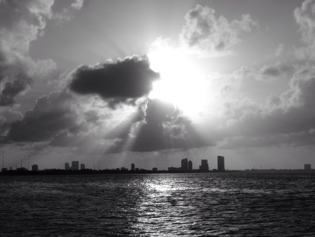 Bw_friday_challenge Miami Beach Sunshine Sunrise_sunsets_aroundworld Shades Of Grey Creative Light And Shadow Cloudporn South Florida Atlantic Ocean Cityscapes