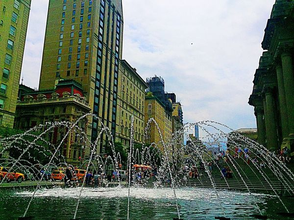 City Clouds And Sky Water Reflection Public Square No Birds Architecture Old Old World Fountain Streetphotography