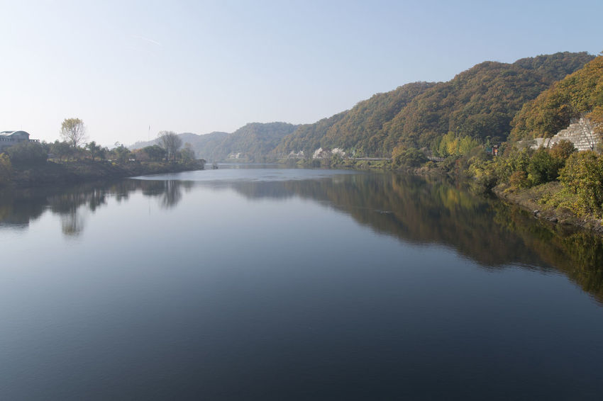 View of Daecheong Lake in Daejeon, Chungnam, South Korea Autumn Daecheong Dam Daecheong Lak Daecheongho Autumn Lake Beauty In Nature Clear Sky Day Lake Lake View Lake Views Landscape Mountain Nature No People Outdoors Reflection Scenics Sky Tranquil Scene Tranquility Tree Water Waterfront