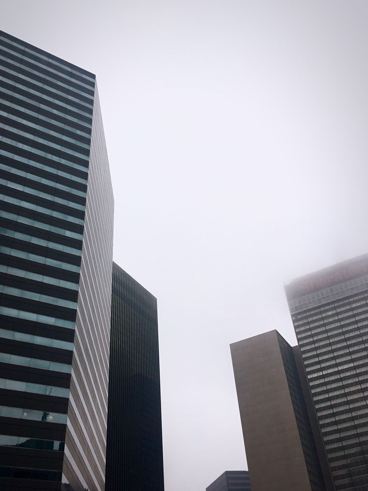 Looking up at some buildings Building Exterior Architecture Built Structure City Low Angle View Modern Skyscraper Clear Sky No People Outdoors Day Tall Sky Office Block (null)Hello World Downtown Check This Out Low Angle View Lookingup Cool Design Shapes EyeEm Best Shots Foggy Traveling Home For The Holidays