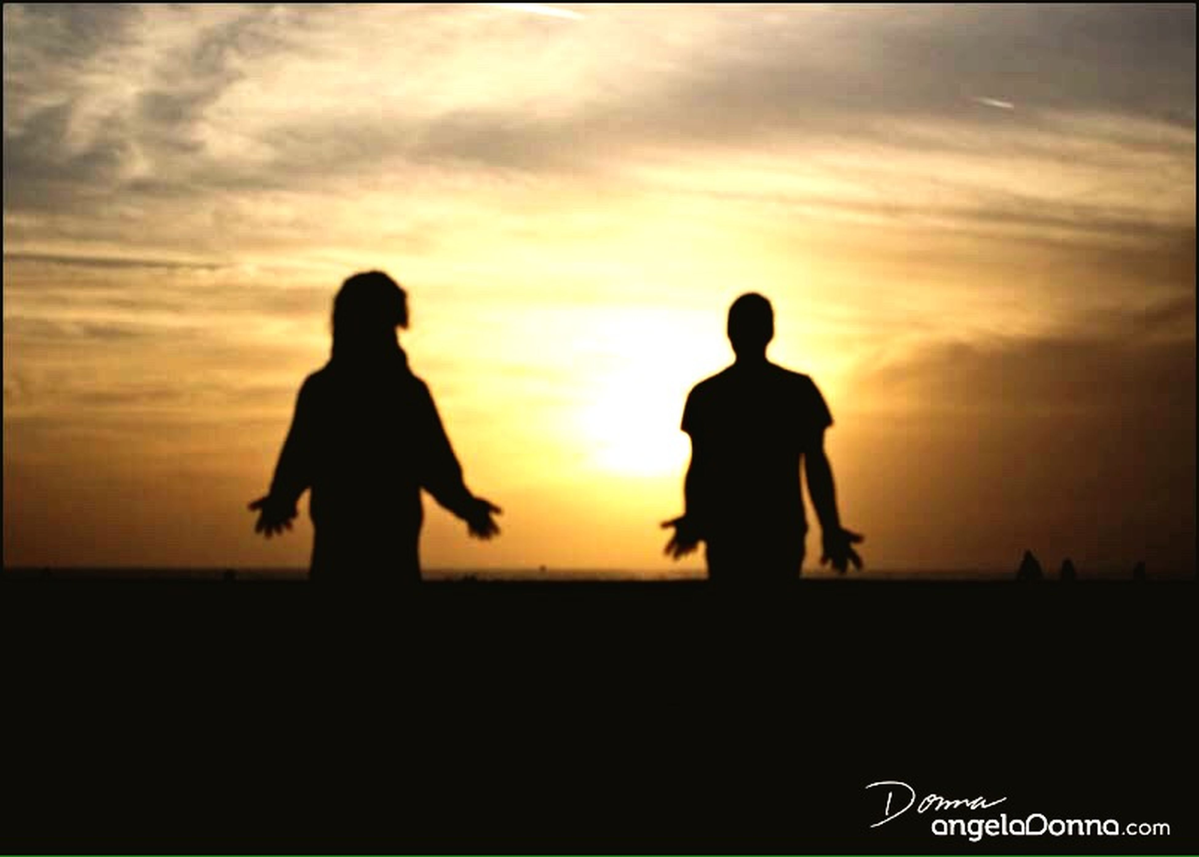 sunset, silhouette, togetherness, sky, men, bonding, lifestyles, orange color, love, standing, leisure activity, friendship, cloud - sky, full length, person, sea, nature, beauty in nature