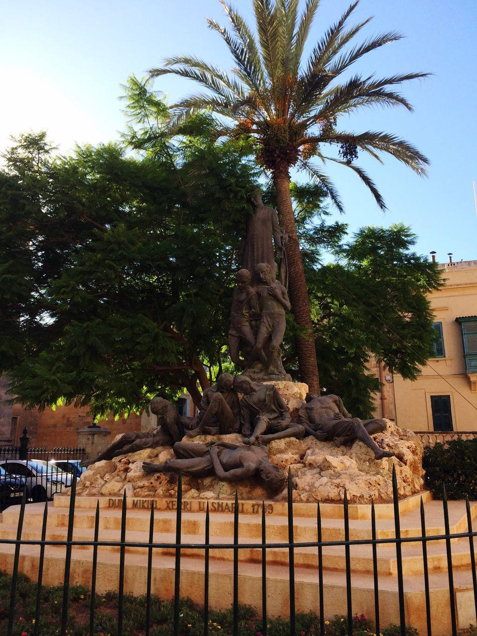 tree, statue, sculpture, no people, palm tree, sky, outdoors, nature, day