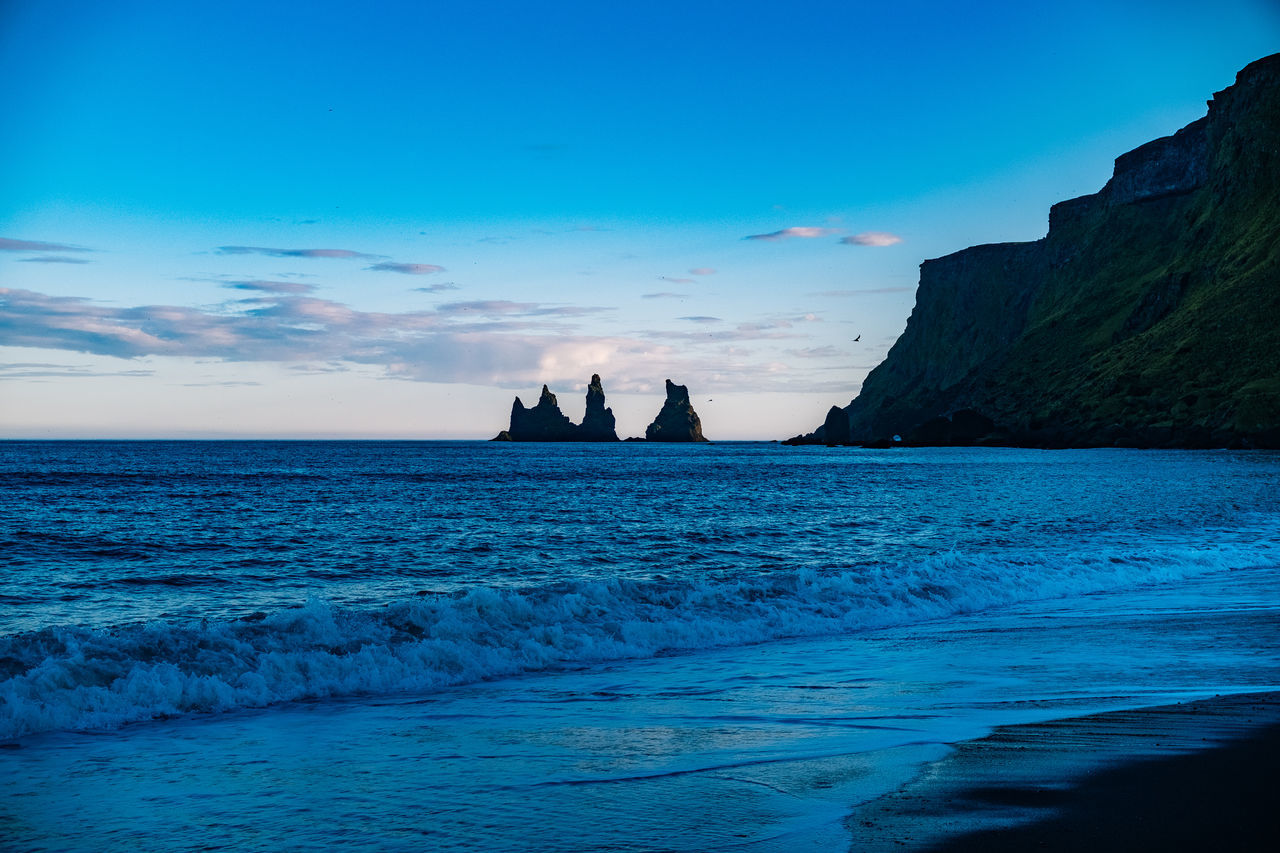 Iceland Vík í Mýrdal Beauty In Nature Blue Cliff Day Horizon Over Water Nature No People Outdoors Rock - Object Scenics Sea Sky Tranquil Scene Tranquility Water Waterfront
