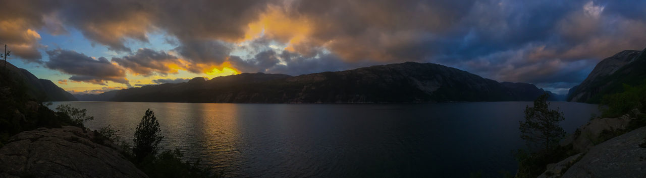 Beautiful view of the Lysefjord Beauty In Nature Cloud - Sky Day Fjord Lake Landscape Lysefjord Mountain Mountain Range Nature No People Outdoors Panoramic Reflection Scenics Sky Sunset Tranquil Scene Tranquility Water The Great Outdoors - 2017 EyeEm Awards