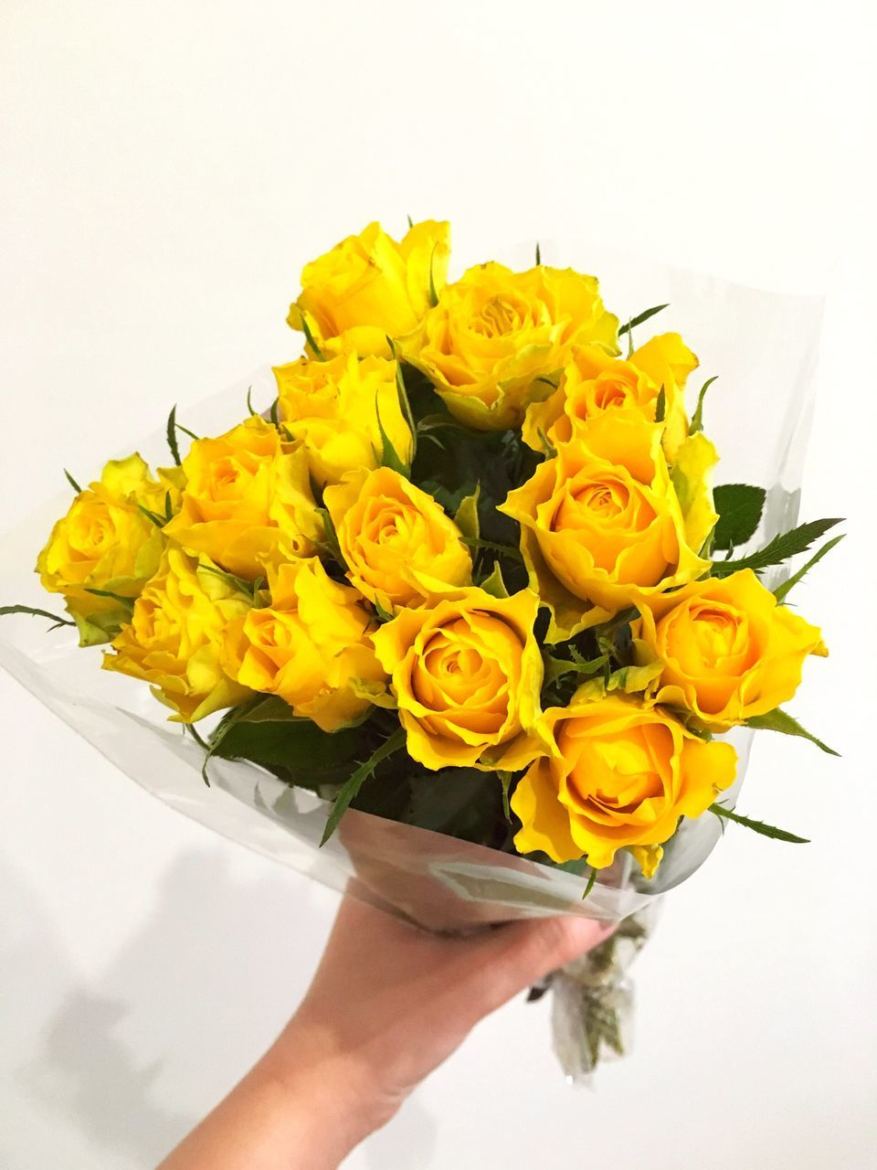 flower, human hand, bouquet, freshness, human body part, holding, petal, yellow, one person, flower arrangement, flower head, fragility, beauty in nature, real people, rose - flower, white background, women, gift, close-up, nature, bride, indoors, day, florist, people