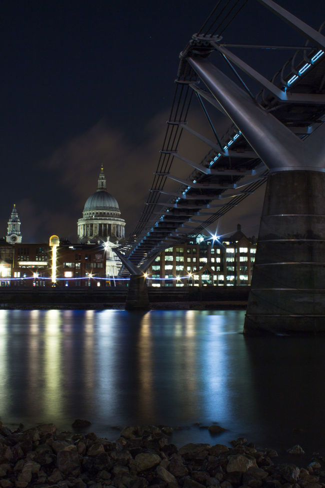 Diagonal and dome - St Paul's Cathedral and Millenium bridge Canon Canonphotography Capital Cities  City Cityscape Cityscapes Dome Eye4photography  EyeEm Best Shots London Long Exposure Millenium Bridge Night Lights River Showcase: November St. Paul's Cathedral Suspension Bridge Water Reflections