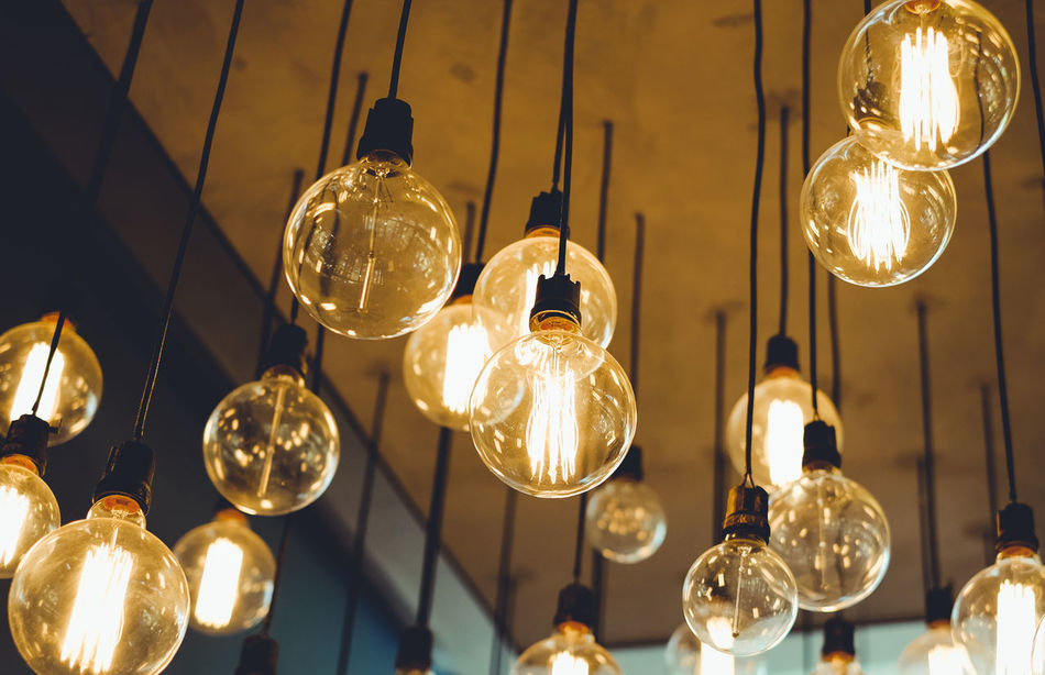 Close-up Day Electric Light Electricity  Filament Focus On Foreground Glowing Hanging Heat - Temperature Illuminated Indoors  Light Bulb Lighting Equipment Low Angle View No People Technology Vintage
