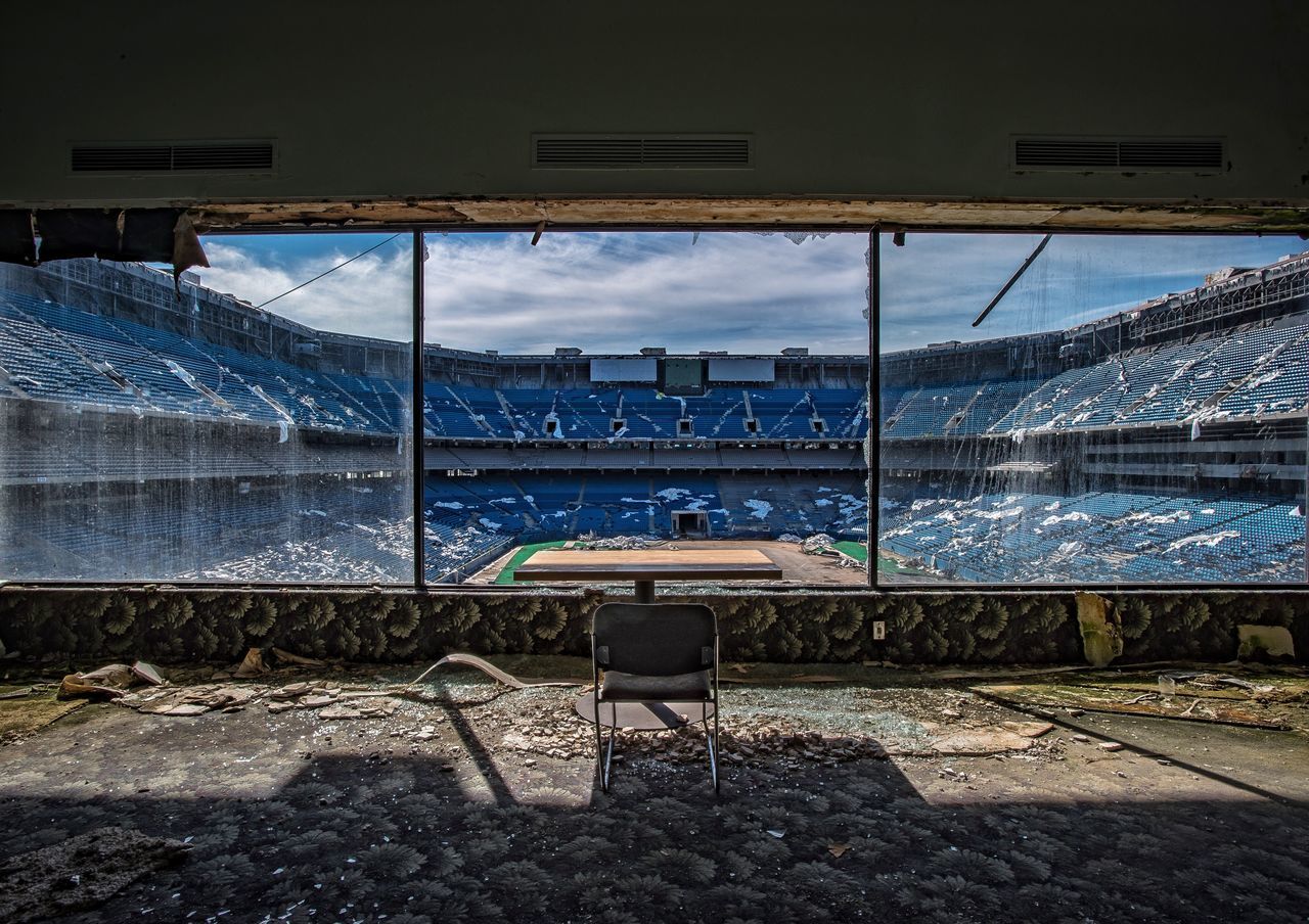 Game day ready Bench Empty Sky No People Architecture Outdoors Day Nature Stadium Football Stadium America Blue Abandoned Abandoned Buildings Abandoned & Derelict Decay