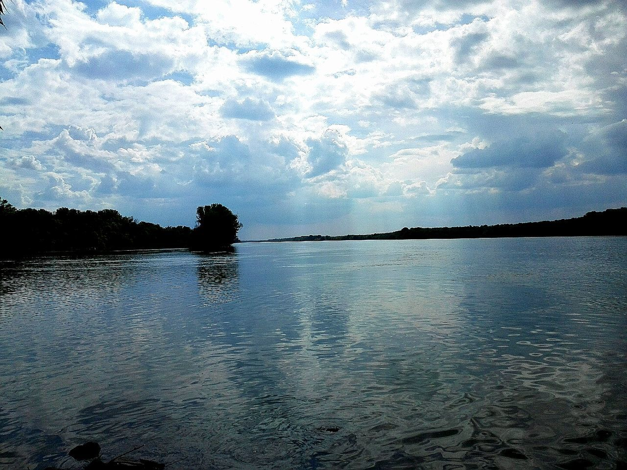 sky, tranquility, nature, tranquil scene, water, beauty in nature, scenics, no people, silhouette, cloud - sky, outdoors, tree, day