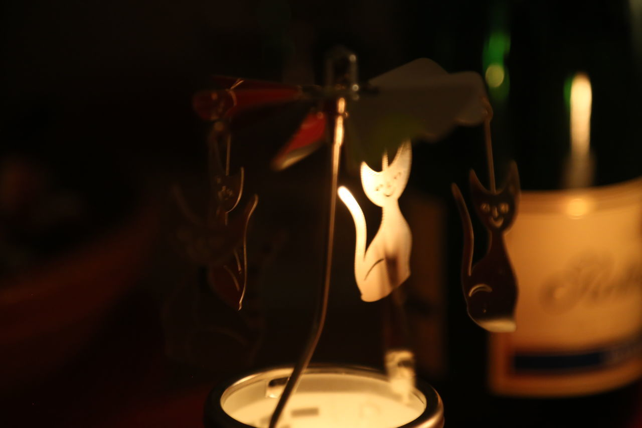 Burning Carousel Cat Decoration Flame Indoors  Metal Night No People