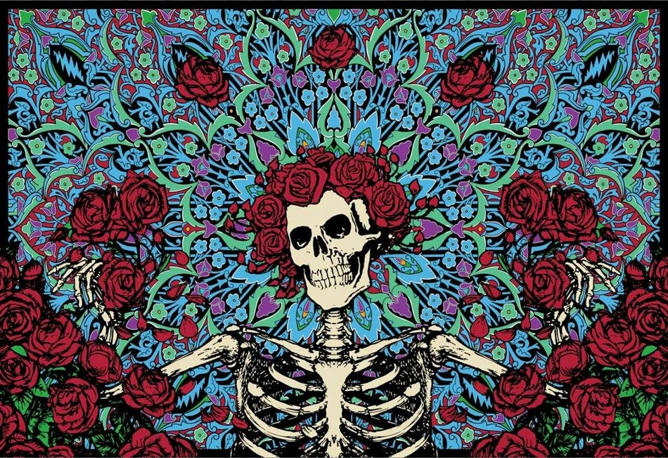 Kind of a Late tribute to Dia De Los Muertos with Roses on a Skull head with a Background Full Of Flowers