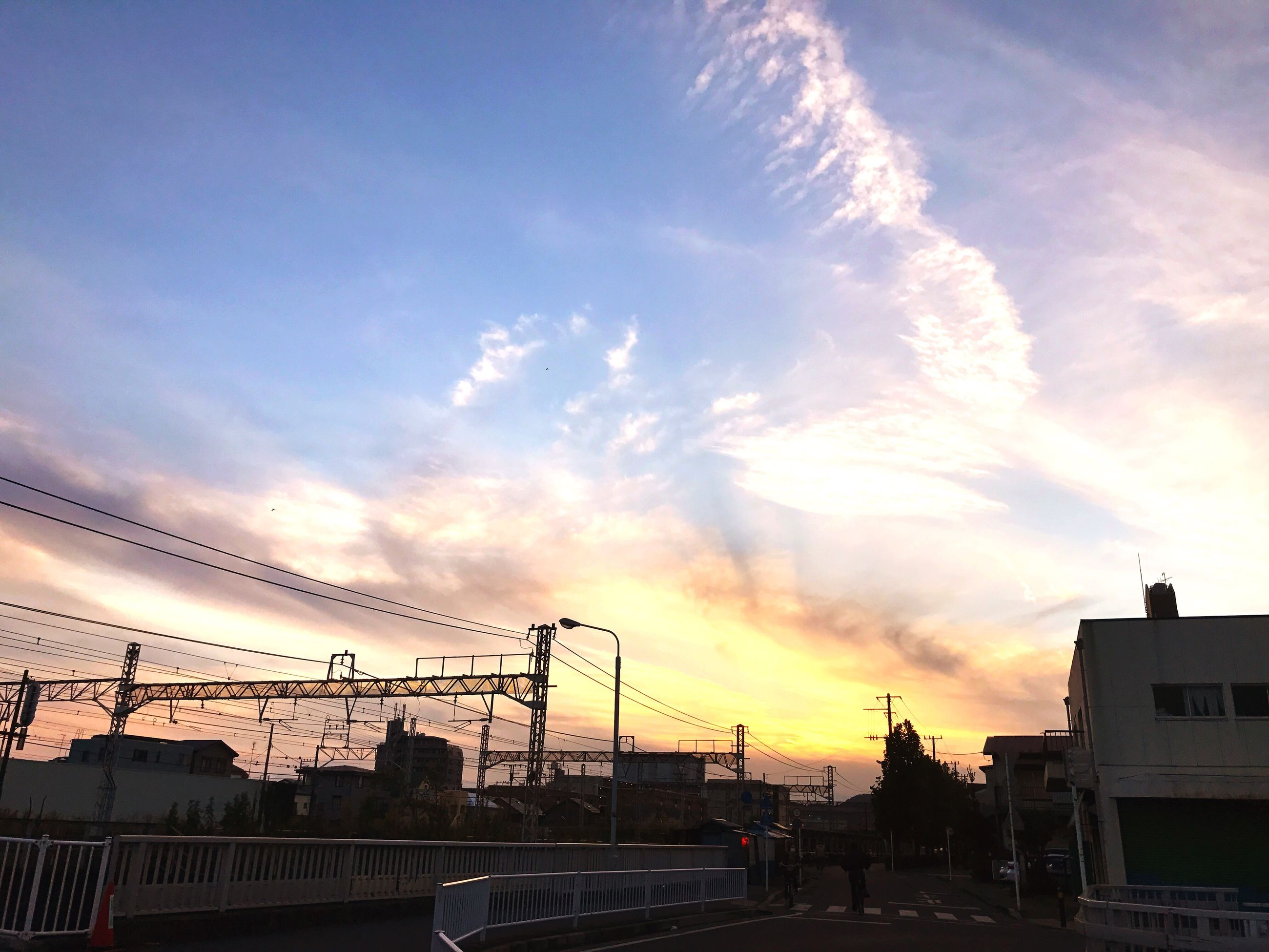 sky, cloud - sky, built structure, sunset, building exterior, architecture, transportation, outdoors, city, car, no people, road, day