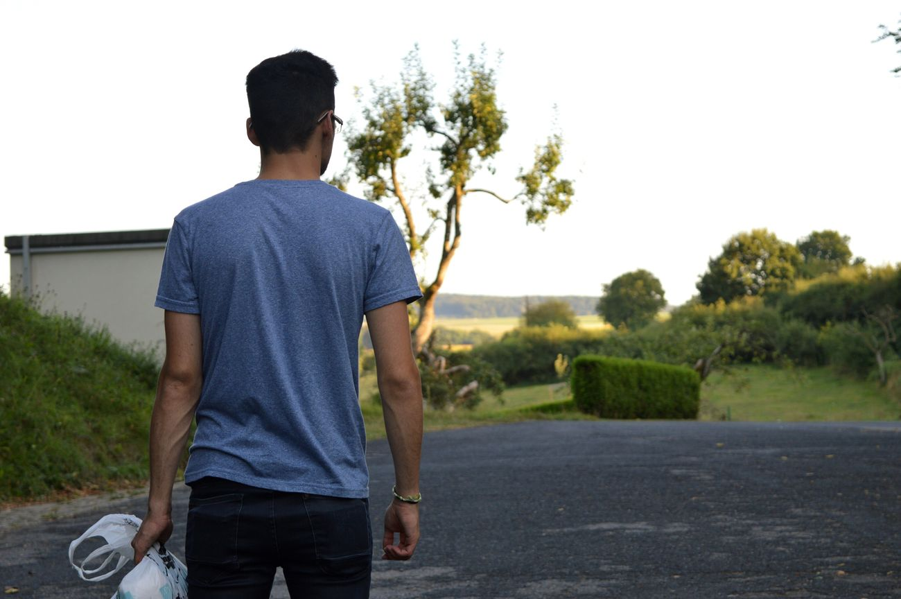 Standing Three Quarter Length Leisure Activity Lifestyles Young Adult Road Young Men Clear Sky Casual Clothing Blue Person Countryside Focus On Foreground Solitude Outdoors Day Thoughtful Alone Luxembourg Streetphotography Nikon D3200 Nikonphotography Echternach EyeEm Gallery My Love My Man