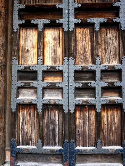 Backgrounds Close-up Detail Double Doors Full Frame Japan Old Safety Security Studded Temple Doors Wood - Material Wooden