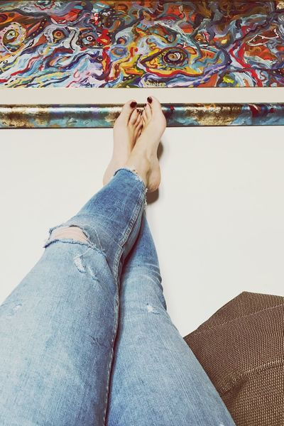 Personal Perspective One Person Human Leg Jeans Woman Art Gallery Art Aloise Gallery Real People Close-up