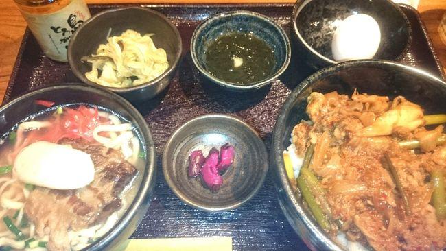 アグー豚キムチ丼とソーキそばセット Lunch Time! Delicious ♡ 沖縄いきたい Cool