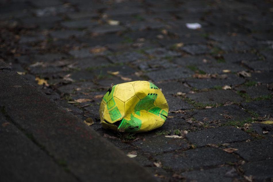 Beautiful stock photos of soccer balls, Close-Up, Cobblestone, Damaged, Day