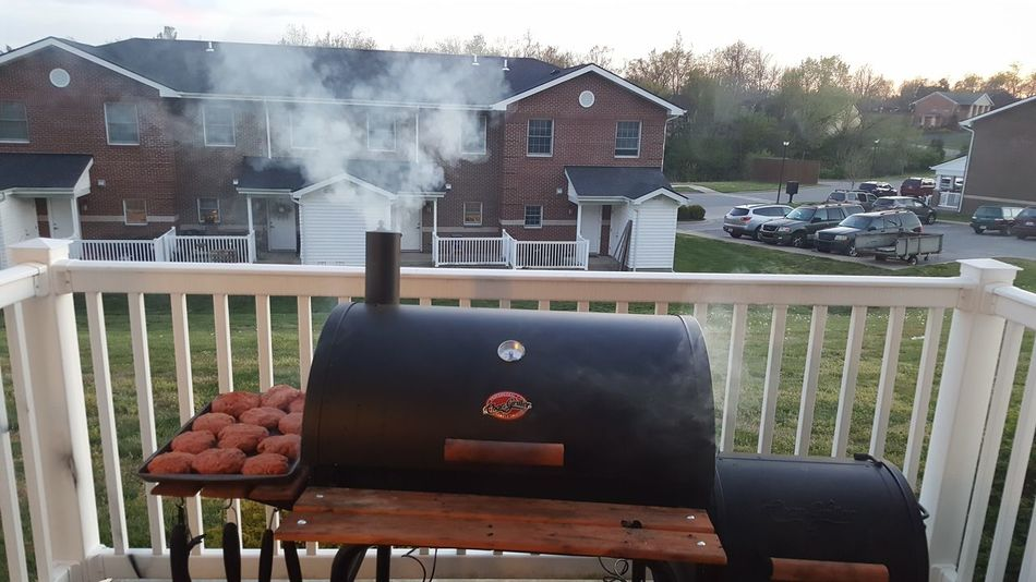 Charcoal Grill Smoking Grilling Out Kentucky  No Filter No People Good Food Outdoors Food Photography BBQ Burgers Backporch Cooking Dinner