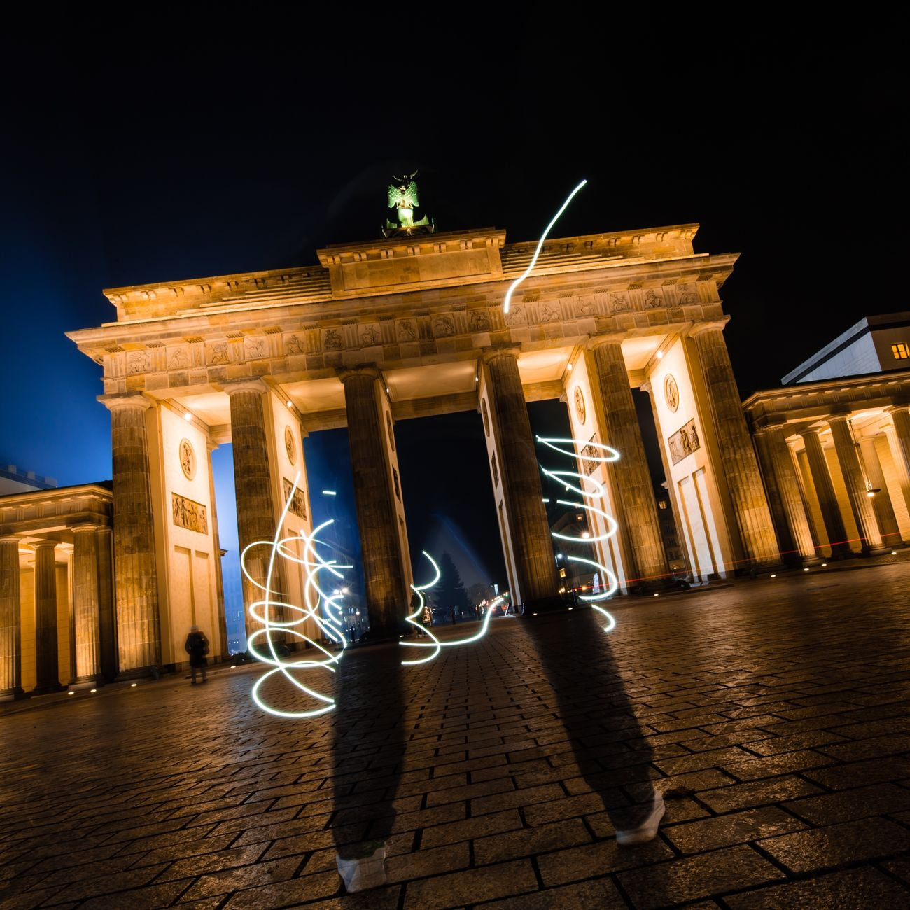 Sign it with Light | captured in Berlin | edited version on Instagram Illuminated Night City Architectural Column Architecture Built Structure City Gate Building Exterior No People Outdoors Sky Pediment Capture Berlin Berlin Long Exposure Nightphotography Brandenburger Tor Brandenburg Gate