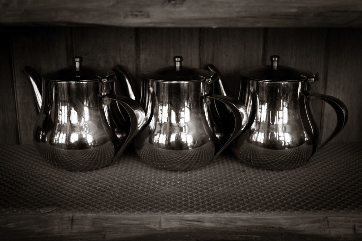 Black And White Close-up Counter Indoors  Metallic No People Reflections Shiny Tea Pots