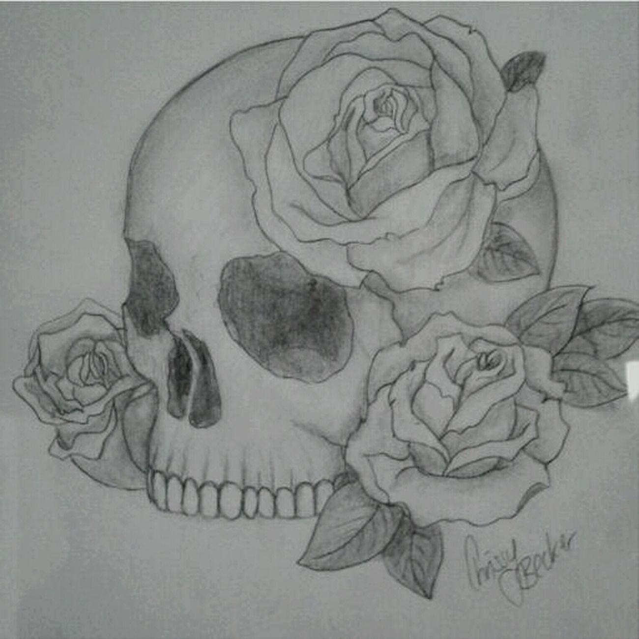 Art Drawing Skull Roses