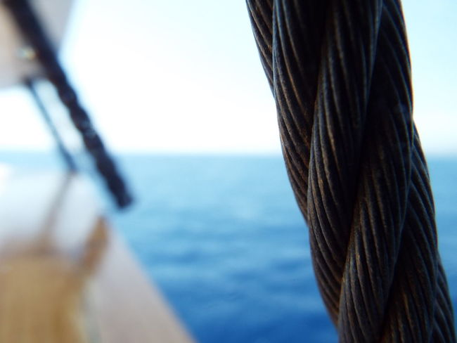 Focus On Foreground Boat Trip Travel Photography Mediterranean Sea Sea Blue Wave Blue Sky Blue Water On A Boat Rope