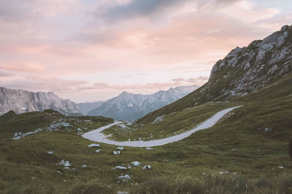 Beauty In Nature Cloud - Sky Day Dramatic Sky Forest Landscape Mountain Mountain Peak Mountain Range Mountain Road Nature No People Outdoors Scenics Sky Sun Sunlight Sunset Winding Road