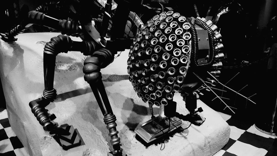 Eye spy with my compound eyes. Indoors  No People Lightandshadow Funtimes Animal Themes Ayeshea Bah EyeEm Gallery London Fresh On Eyeem  Robot Zoo Hornimanmuseum Insects Of Eyeem Screens Sculpture Black And White Photography Robot Fly