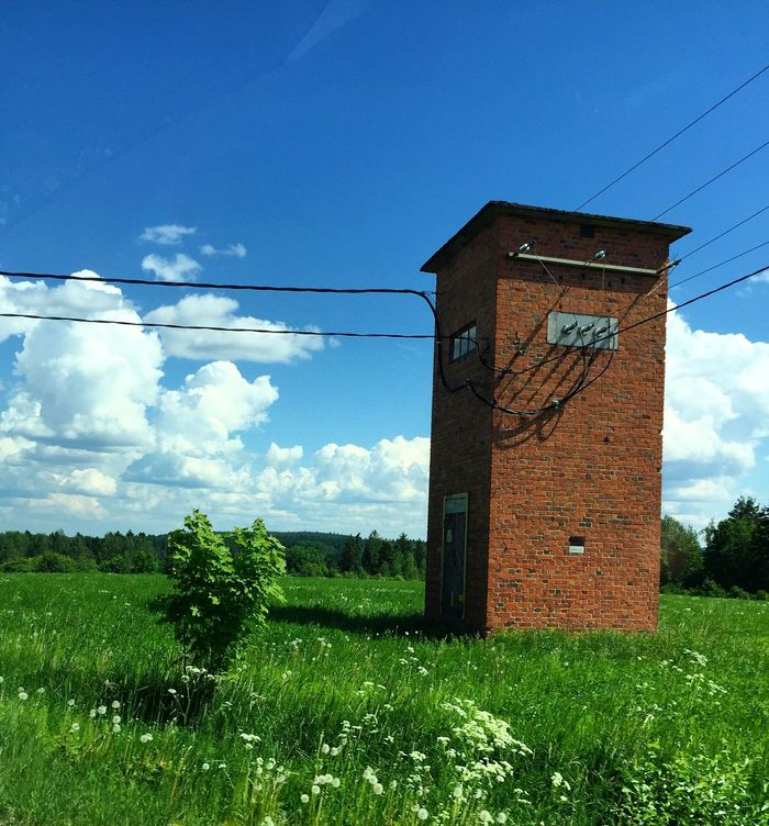 Blue Sky Built Structure Architecture Plant Rural Scene Cable Day Power Line  Field Tranquil Scene Outdoors Green Color Tranquility Scenics Nature Countryside Cloud - Sky Green No People