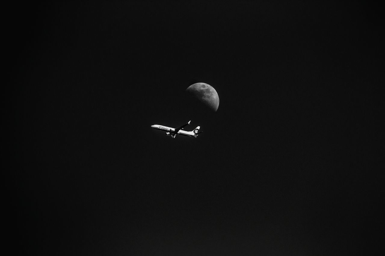 copy space, flying, low angle view, moon, night, no people, clear sky, nature, outdoors, beauty in nature, sky, astronomy