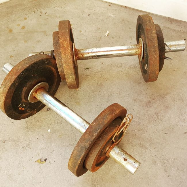 Barbell Concrete Dumbbells Excercising Fitness Gym Rust Weightlifting