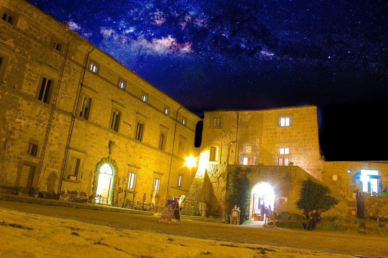 Civita Civita Di Bagnoregio La Citta Che Muore Night Illuminated Architecture Building Exterior Built Structure Sky Real People Outdoors Star - Space Astronomy