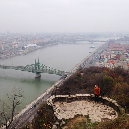Photographing photographers Photographer Skyline Fog Mist Europe Bridge Water River Mountain Cityscapes City Bleak
