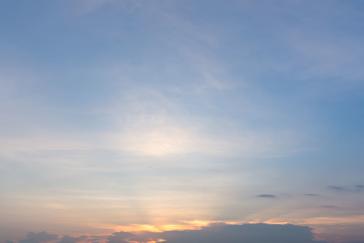 sunset, cloud - sky, nature, beauty in nature, sky, scenics, tranquility, tranquil scene, outdoors, low angle view, no people, sky only, backgrounds, day