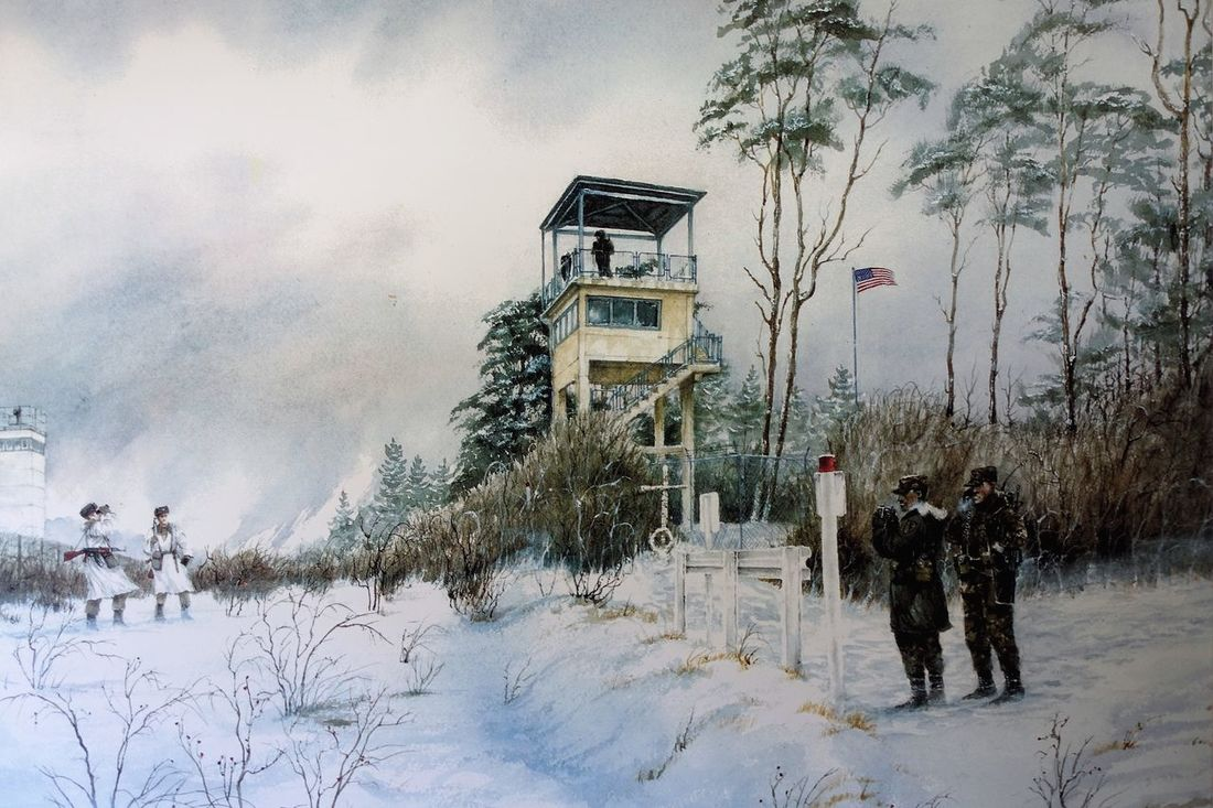 usa watch-tower Beauty In Nature Borderline Building Exterior Christmas Cold Temperature Day Demarkation Linee East To West, NYC Frontier Guard-tower History Story House Memorial Muse Nature No People Outdoors Painting Point Alpha Sky Snow Tourist Attractions Tree Very West Point Winter