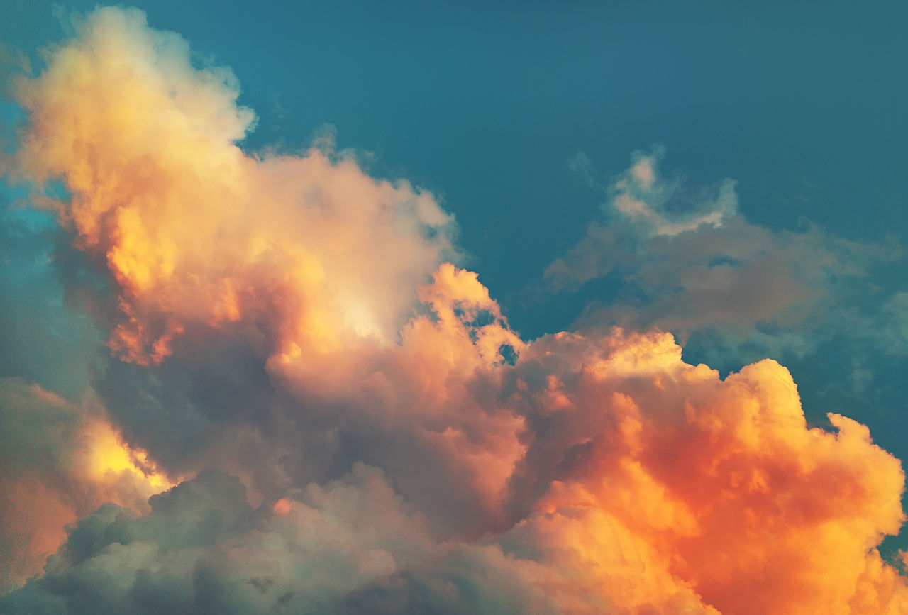 Sky with a fluffy clouds at sunset Backgrounds Beauty In Nature Beauty In Nature Bright Colors Cloud - Sky Cloudscape Day Fluffy Clouds Heaven Horizontal Landscape Mediterranean  Nature Background No People Nobody Outdoors Picturesque Sky Sky And Clouds Southern Sundown Sunlight Sunset Vibrant Color Weather