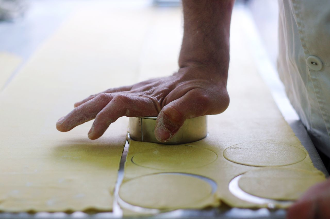 Beautiful stock photos of küchen, Chef, Cutting, Dough, Focus On Foreground