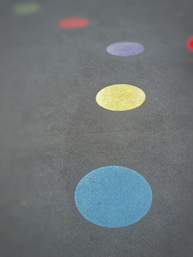 Blue Circle Purple Circle Yellow Circle Green Circle Colored Circles Coloured Circles Playground High Angle View Selective Focus