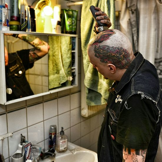 Many people ask me how I shave my head so often, like once a day, the answer is a braun series 7 electric shaver. It does the trick. Razor Electric Shaved Skin Skinhead N Punk Old Style Skinhead